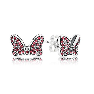 PANDORA Disney Minnie's Sparkling Bow with CZ Stud Earrings